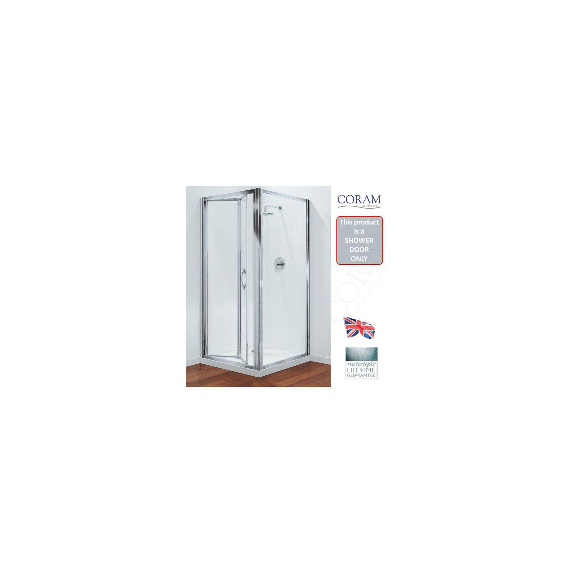 Coram Premier Bi-Fold Shower Door, 1000mm Wide, Polished Silver Frame, 6mm Plain Glass at Tesco Direct