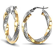 Jewelco London 9ct Yellow and White Gold Oval Hoop Greek Key Earring