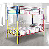 Happy Beds Rainbow Multi-Metal Kids Bunk Bed Frame 3ft Single