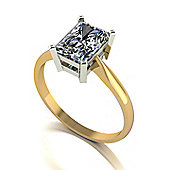 18ct Gold 8x6 Radiant Moissanite Single Stone Ring