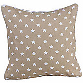 Homescapes Cotton Beige Stars Scatter Cushion, 30 x 30 cm