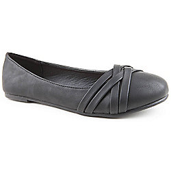 Emilio Luca X Ladies Wide Fit Prez Black Ballerina Shoes