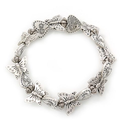 Vintage Butterfly & Heart Hammered Flex Bracelet In Silver Tone - up to 20cm Length