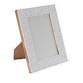 Linea White Embossed Photo Frame 5 X 7 In Cream New