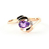 QP Jewellers Diamond & Amethyst Flare Ring in 14K Rose Gold