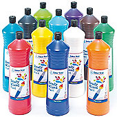 Water-Based Ready Mixed Paint for Crafts - 600ml Bottles (Multi Pack of 12 )