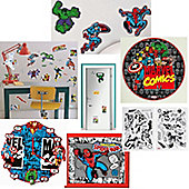 Marvel Avengers Bedroom Decor Set inc Stickers and a Clock