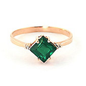 QP Jewellers Diamond & Emerald Princess Ring in 14K Rose Gold