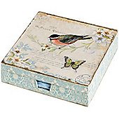 Hill Interiors Elegant Bird Napkin Box with Napkins
