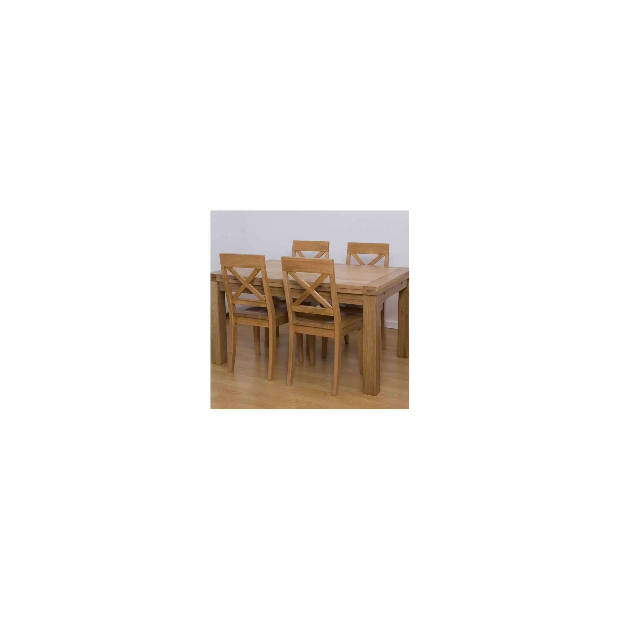G&P Furniture 5 Piece Rectangular Extending Oak Dining Set - 76.2cm H x 120cm - 180cm W x 80cm D