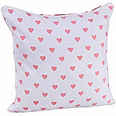 Homescapes Cotton Pink Hearts Scatter Cushion, 30 x 30 cm