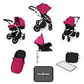 Ickle Bubba Stomp v3 AIO Travel System + Isofix Base + Mosquito Net - Pink (Silver Chassis)