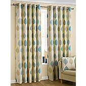 Leaves Ready Made Eyelet Curtains - Fully Lined - Duckegg Blue 66x72