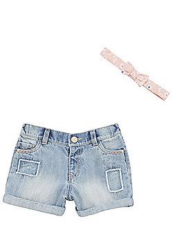 F&F Distressed Denim Shorts with Headband - Light wash