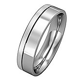 Jewelco London Platinum - 5mm Essential Flat-Court Band with Fine Groove Part Satin Finish Commitment / Wedding Ring -