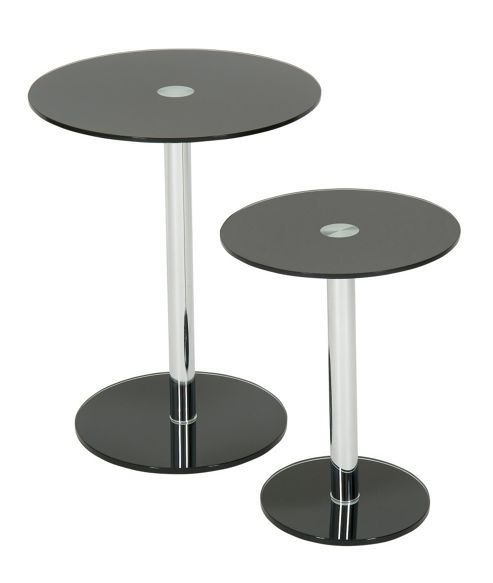 LEVV Round Side Table (Set of 2) - Black Glass