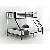 Happy Beds Cherry 3ft 4ft6 Kids Black Metal Bunk Bed Triple Sleeper 2x Spring Mattress