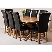 Vermont Solid Oak Crossed Leg 200 cm Extending Dining Table with 8 Washington Leather Dining Chairs (Black)