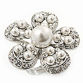 Caviar Simulated Pearl and Swarovski Crystal Floral Rhodium Plated Cocktail Ring - 30mm Size 7/8 Adjustable