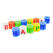 Set of Small Individual 'Happy Birthday' Celebration Candles (Blue Version)