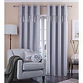 Catherine Lansfield Home Silk Sequin Silver Curtains 90x90