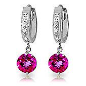 QP Jewellers Pink Topaz & SI-2 Diamond Studded Huggie Earrings in 14K White Gold
