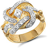 Jewelco London 9ct Solid Gold medium weight Knot Ring hand set with CZ stones