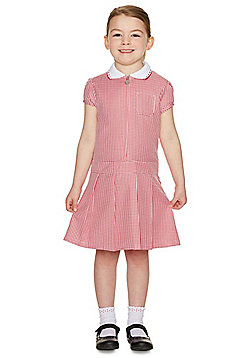 F&F School Girls Gingham Zip Dress with Scrunchie - Red