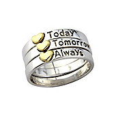 """Sterling Silver and 9ct Gold Overlaid 3 Part Ring Message - """"Today, Tomorrow, Always"""""""