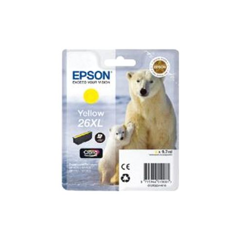 Epson Polar Bear 26XL Yellow Claria Premium Ink Cartridge (RF) for Expression Premium XP-600/XP-605/XP-700/XP-800 All-in-One Inkjet Printers
