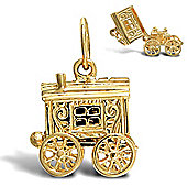 Jewelco London 9ct Solid Gold opening wagon pendant charm with spinning wheels assembled & finished by hand