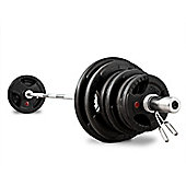 Bodymax 100Kg Olympic Rubber Radial Barbell Kit with 6 ft Bar and spring collars