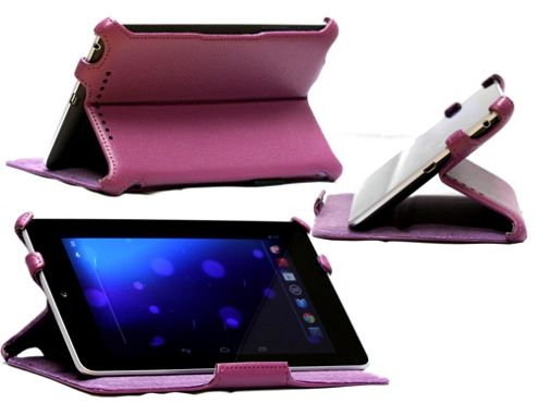 Navitech Purple Multi Stand Hard Faux Leather Case For The Asus Google Nexus 7 Inch