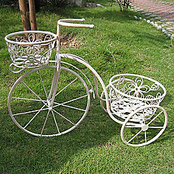 Bentley Garden Wrought Iron White Penny Farthing Planter