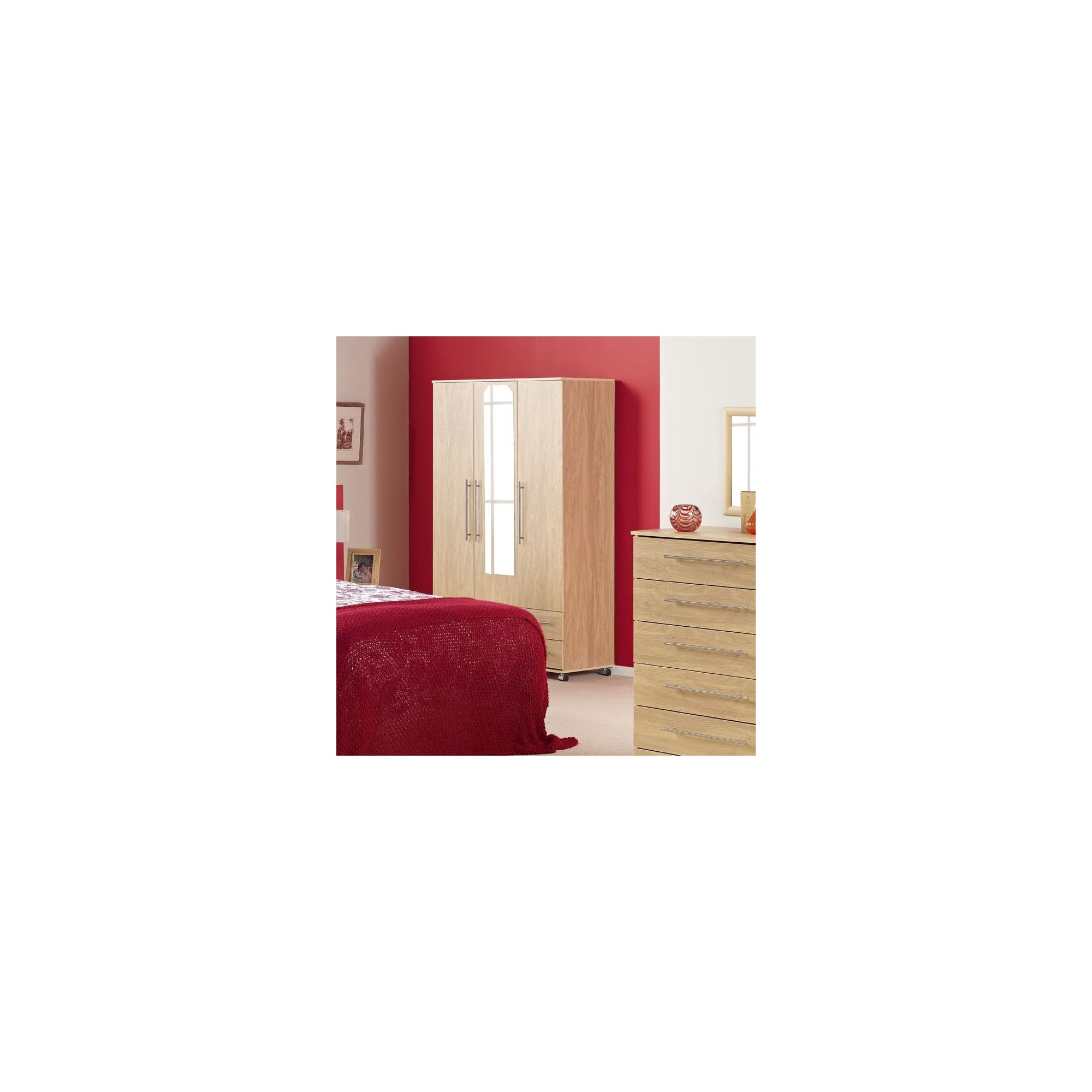 Ideal Furniture Bobby Triple Plain Wardrobe - Oak at Tescos Direct