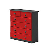4 + 2 Chest of Drawers in Graphite and Red