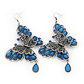 Long Burn Silver Blue Acrylic Bead 'Butterfly' Drop Earrings - 10cm Length