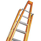 Trade 3.5m (11.48ft) Timber Double Window Cleaning Ladder (Alloy Tread)