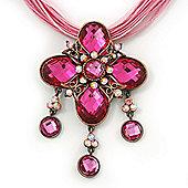 Vintage Pink Diamante 'Cross' Pendant Necklace On Cotton Cords In Bronze Metal - 38cm Length/ 7cm Extension