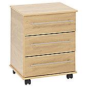 Ideal Furniture New York 3 Drawer Bedside Table - Oak