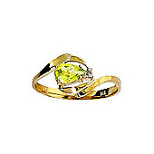 QP Jewellers Diamond & Peridot Flare Ring in 14K Gold