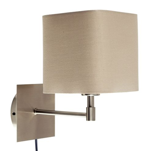 Buy Sheldon Wall Light, Brushed Chrome & Beige & Plug and Cable from our Single Wall Lights ...