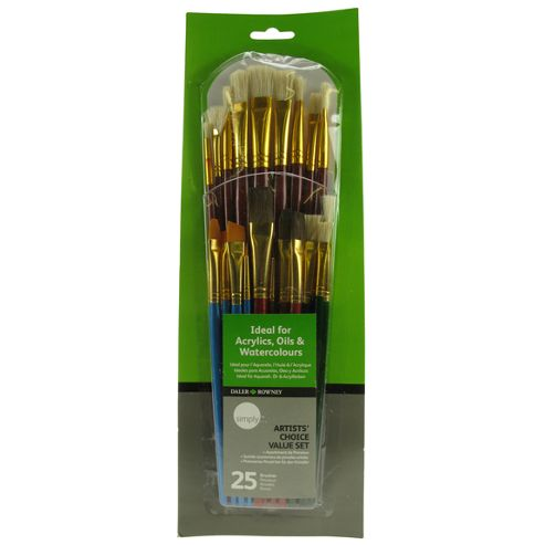 Daler Simply All Purpose Brush Set - 25 Piece Artists' Choice Value Set