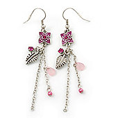 Pink Enamel Flower, Acrylic Bead Chain Dangle Earrings In Silver Tone - 8cm Length