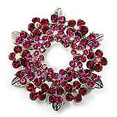 Magenta Crystal Wreath Brooch (Silver Tone Metal)