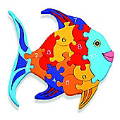 Alphabet Jigsaws Handcrafted Traditional Wooden Puzzle: Number Fish 126FSH