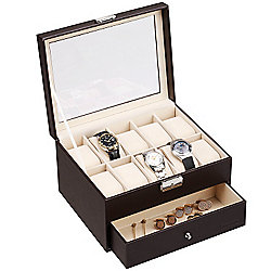 VonHaus Brown Faux Leather Watch Cufflink Display Box for 10 Watches