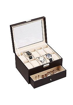 VonHaus Brown Faux Leather Watch Cufflink Display Box for 10 Watches