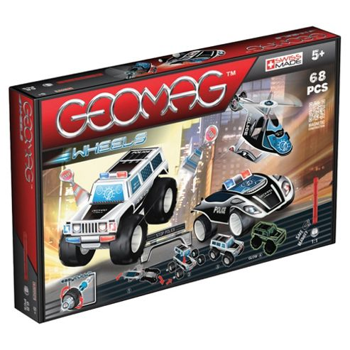 Geomag Wheels Police Chase Car, 4x4 and Helicopter Triple Pack