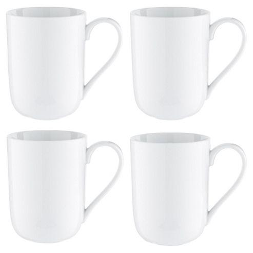 Tesco Super White Porcelain Mug, Set of Four